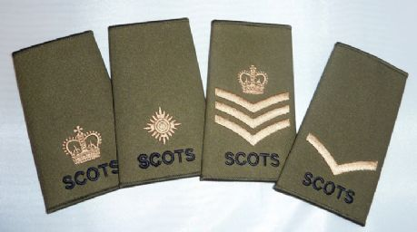 The Royal Regiment of Scotland - Uniform Rank Slides for all ranks from Private to Major.